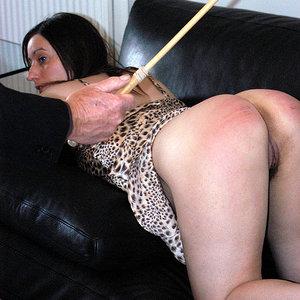 Bottom caned hot spanked