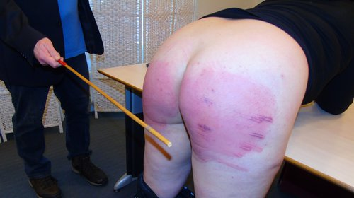 Video spank cane barer bottom boy